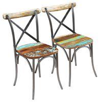 vidaXL Chaises de salle à manger 2 pcs Bois de récupération solide