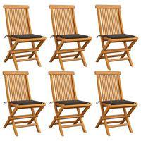 vidaXL Chaises de jardin avec coussins taupe 6 pcs Bois de teck massif
