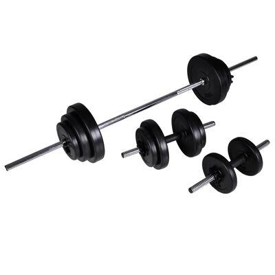 vidaXL Banc d'entraînement réglable avec jeu d'haltères 30,5 kg