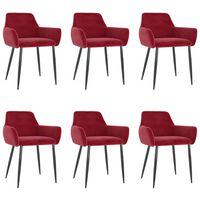 vidaXL Chaises de salle à manger 6 pcs Rouge bordeaux Velours