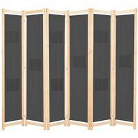 vidaXL Cloison de séparation 6 panneaux Gris 240 x 170 x 4 cm Tissu