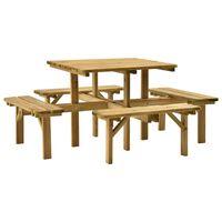 vidaXL Table de pique-nique 4 côtés 172x172x73 cm Bois de pin imprégné