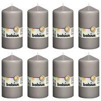 Bolsius Bougies pilier 8 pcs 130x68 mm Gris chaud