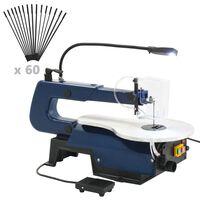 vidaXL Scie à chantourner électrique avec pédale et lampe LED 125 W