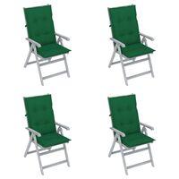 vidaXL Chaises inclinables de jardin 4 pcs avec coussins Bois d'acacia