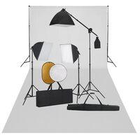 vidaXL Kit de studio photo boîte à lumière toile de fond et réflecteur
