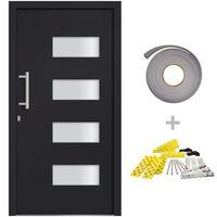 vidaXL Porte d'entrée Aluminium et PVC Anthracite 110x210 cm