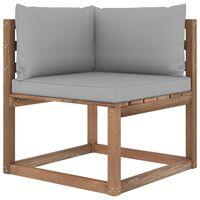 vidaXL Canapé d'angle palette de jardin avec coussins gris