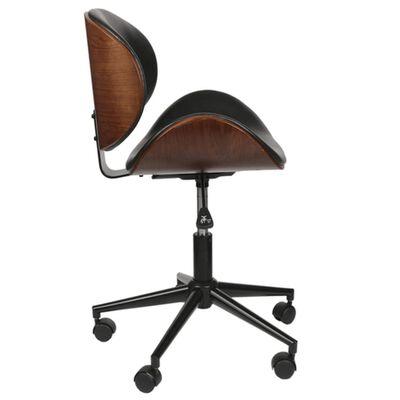 Chaise de bureau réglable design rétro Reno - Noir effet vielli