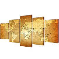 """Set de toiles murales imprimées """"Carte du monde"""" 200 x 100 cm"""