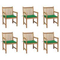 vidaXL Chaises de jardin 6 pcs avec coussins vert Bois de teck massif
