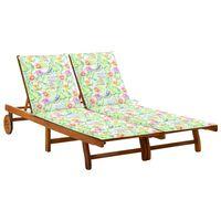 vidaXL Chaise longue de jardin 2 places avec coussins Acacia solide