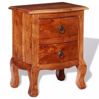 vidaXL Table de chevet avec tiroirs Bois d'acacia massif