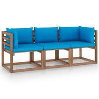 vidaXL Canapé palette de jardin 3 places et coussins bleu clair Pinède