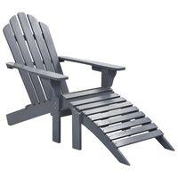 vidaXL Chaise de jardin avec pouf Bois Gris