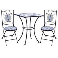 vidaXL Mobilier de bistro 3 pcs mosaïque Carreau céramique Bleu Blanc