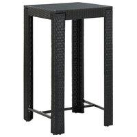 vidaXL Table de bar de jardin Noir 60,5x60,5x110,5 cm Résine tressée