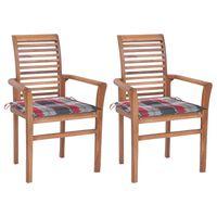 vidaXL Chaises à dîner 2 pcs avec coussins à carreaux rouge Teck