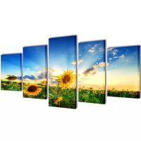 Set de toiles murales imprimées Tournesols 100 x 50 cm