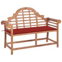 vidaXL Banc de jardin avec coussin rouge 120 cm Bois de teck massif