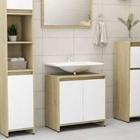 vidaXL Armoire de bain Blanc et chêne sonoma 60x33x58 cm Aggloméré