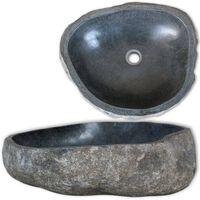 vidaXL Lavabo en pierre de rivière Ovale 30-37 cm