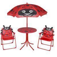 vidaXL Jeu de bistro avec parasol pour enfants 3 pcs Rouge