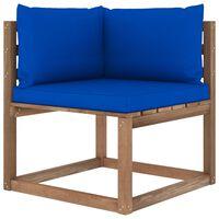 vidaXL Canapé d'angle palette de jardin avec coussins bleu