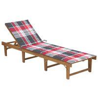 vidaXL Chaise longue pliable avec coussin Bois d'acacia solide