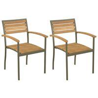 vidaXL Chaise empilables d'extérieur 2 pcs Bois d'acacia et Acier