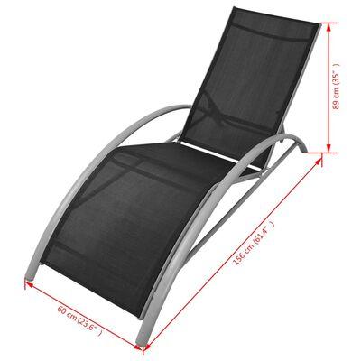 vidaXL Chaises longues avec table Aluminium Noir