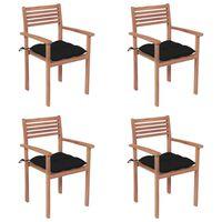 vidaXL Chaises de jardin 4 pcs avec coussins noir Bois de teck solide