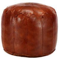 vidaXL Pouf 40 x 35 cm Brun roux Cuir véritable de chèvre