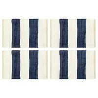 vidaXL Napperons 4 pcs Chindi Bande Bleu et blanc 30 x 45 cm