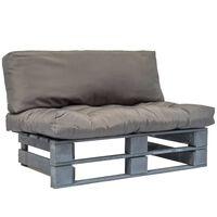 vidaXL Canapé de jardin palette avec coussins gris Pinède