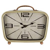 Gifts Amsterdam Horloge de bureau Métal Laiton et crème 22x8x19 cm
