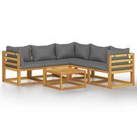 vidaXL Salon de jardin 6 pcs avec coussins Bois d'acacia solide