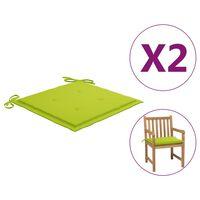 vidaXL Coussins de chaise de jardin 2 pcs Vert vif 50x50x4 cm Tissu
