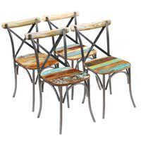 vidaXL Chaises de salle à manger 4 pcs Bois de récupération solide