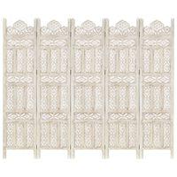 vidaXL Cloison de séparation 5 panneaux Blanc 200x165 cm Bois manguier