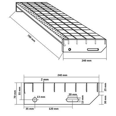 vidaXL Marches d'escalier 4 pcs Acier galvanisé pressé 700x240 mm,