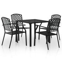 vidaXL Mobilier de salle à manger d'extérieur 5 pcs Acier Noir