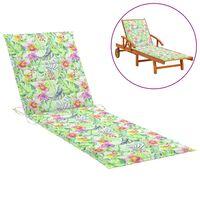 vidaXL Coussin de chaise longue Motif de feuilles 200x50x4 cm Tissu