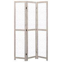vidaXL Cloison de séparation 3 panneaux Blanc 105x165 cm Bois solide