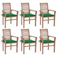 vidaXL Chaises à dîner 6 pcs avec coussins vert Bois de teck solide