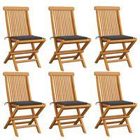 vidaXL Chaises de jardin avec coussins anthracite 6 pcs Bois de teck