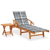 vidaXL Chaise longue de jardin avec table et coussin Bois d'acacia