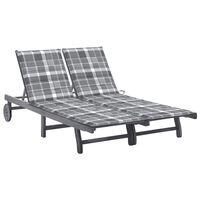 vidaXL Chaise longue de jardin 2 places avec coussin Gris Acacia