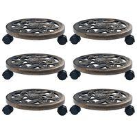 vidaXL Chariots pour plantes 6 pcs Bronze 30 cm Plastique
