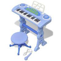 vidaXL Clavier jouet d'enfants et tabouret/microphone 37 touches Bleu